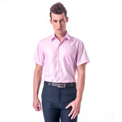 金‧安德森 粉紅色類絲質窄版短袖襯衫
