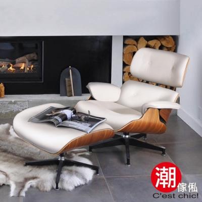 C est Chic_Eames Lounge Chair & Ottoman 牛皮復刻版-白 W86.5*D88*H84.5cm