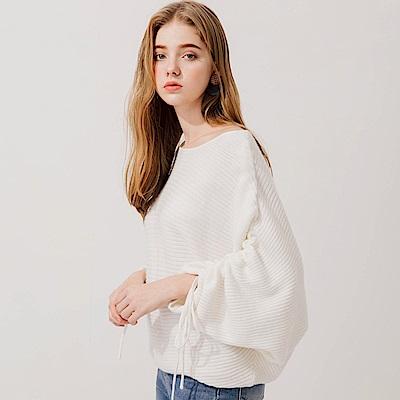 AIR SPACE 隨性感單肩抽繩針織毛衣(白)