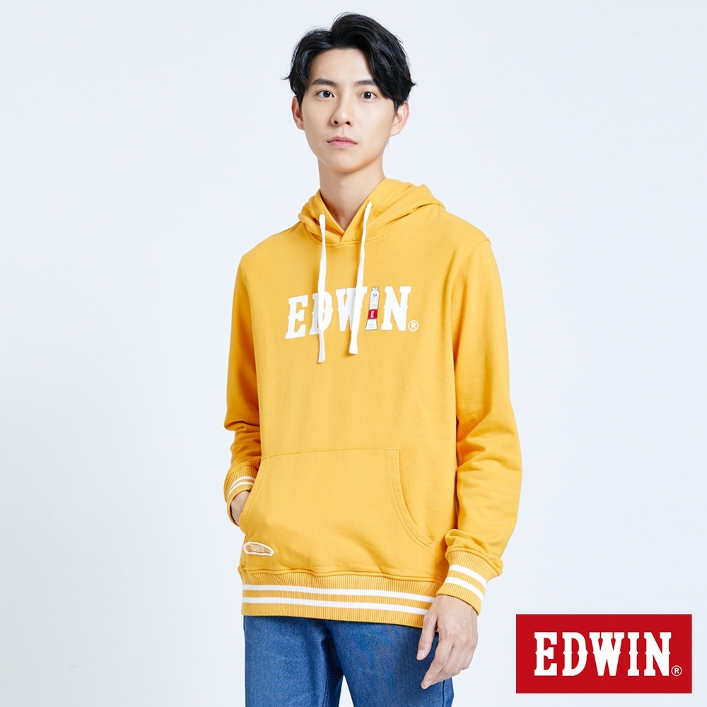 EDWIN 塗鴉系列 顏料配條厚連帽T恤-男-桔黃色