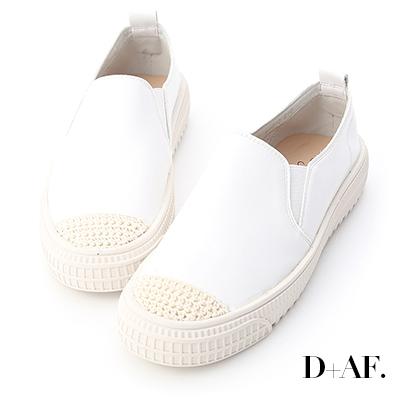 D+AF 隨性漫步.針織鞋頭平底懶人鞋*白