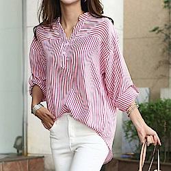 正韓 寬鬆條紋V領捲袖長袖襯衫 (共二色)-N.C21