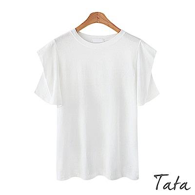 摺袖圓領素面上衣 TATA