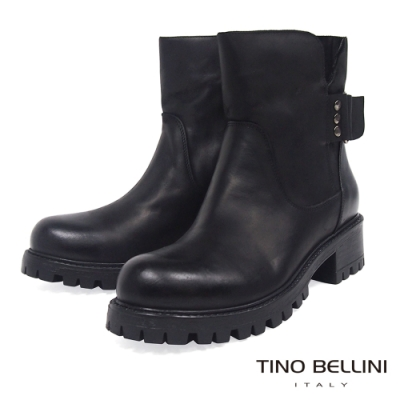 Tino Bellini義大利進口礦味氣勢中低跟工程靴_黑