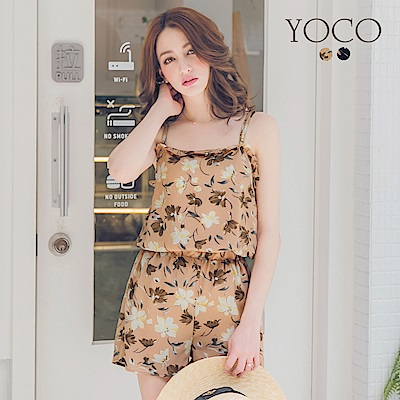 東京著衣-yoco 度假女孩二件式印花背心短褲套裝-S.M.L(共二色)