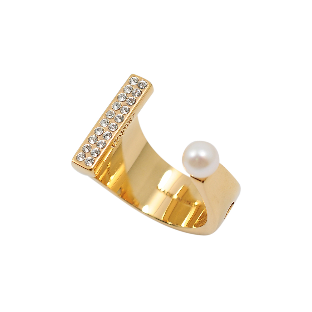 VITA FEDE義大利時尚珠寶精品 玫瑰金珍珠鑲鑽U型戒指 @ Y!購物