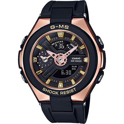 BABY-G 獨創設計璀璨耀眼女錶-黑X玫瑰金(MSG-400G-1A1)/41mm
