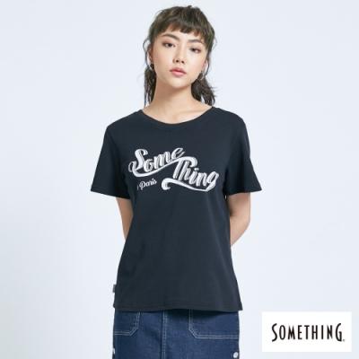 SOMETHING 俏皮LOGO 短袖T恤-女-黑色