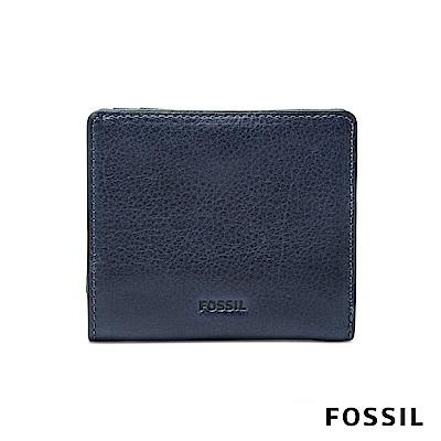 FOSSIL EMMA 真皮RFID迷你短夾-海軍藍 SL7150406