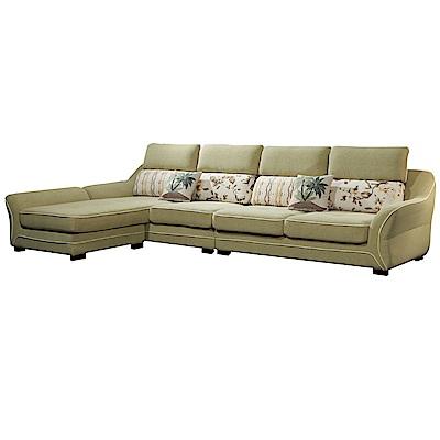 文創集 亞德蘭時尚絲絨布L型獨立筒沙發組合(四人座+椅凳)-350x190x100cm免組