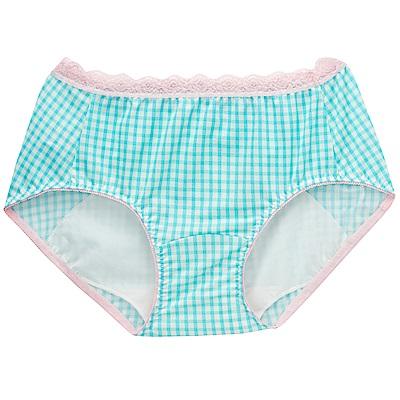 莎薇- 印花 M-LL 中低腰日間生理褲(藍綠格)吸濕透氣
