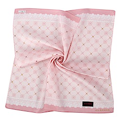 CLATHAS經典山茶花LOGO蕾絲飾邊帕巾-粉紅色