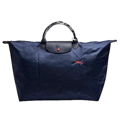 LONGCHAMP 經典Collection刺繡摺疊暗釦/拉鍊短提把尼龍水餃包-L-海軍藍