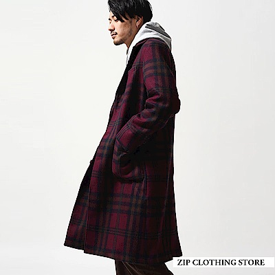 大格紋切斯特長大衣(4色) ZIP日本男裝