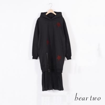 beartwo 百折下擺連帽洋裝-黑