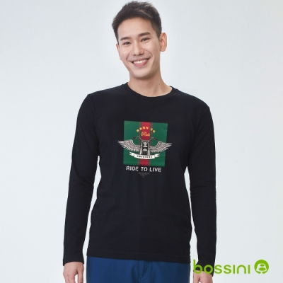 bossini男裝-印花長袖T恤03黑