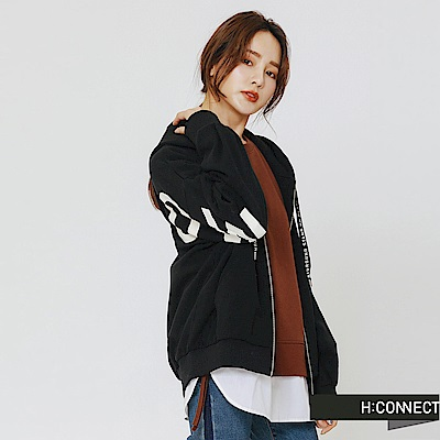 H:CONNECT 韓國品牌 女裝-活力印字連帽外套-黑
