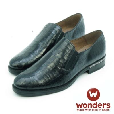 WONDERS-率性都會真皮壓紋休閒鞋-黑