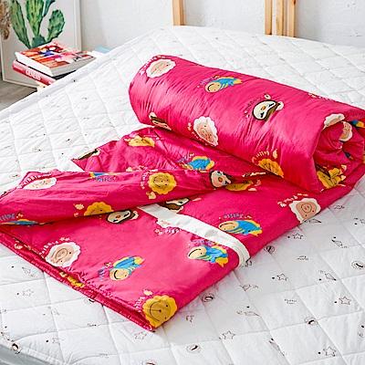奶油獅 同樂會系列-台灣製造-100%精梳純棉兩用被套(莓果紅)-7X8雙人特大