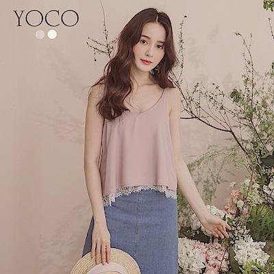 東京著衣-YOCO 氣質甜美拼接蕾絲細肩帶雪紡上衣-S.M.L-(共兩色)