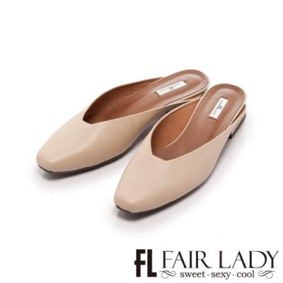 Fair Lady 淺口方頭低跟穆勒鞋 香草