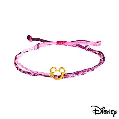 Disney迪士尼系列金飾 黃金/彩色蠟繩手鍊-經典米奇款