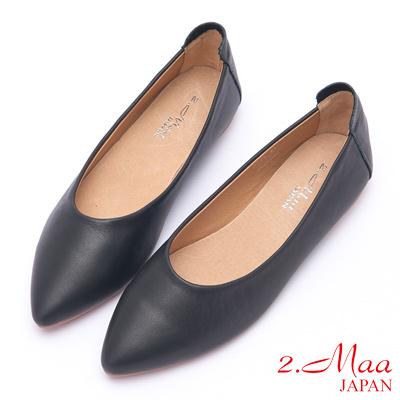 2.Maa 素面設計牛皮舒適平底懶人鞋 - 黑