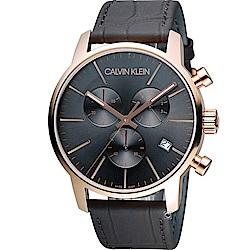 CK Calvin Klein 城市經典簡約石英計時腕錶-黑x玫瑰金色/43mm