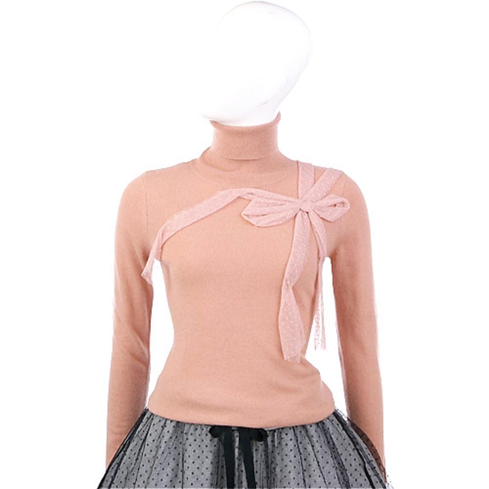 VALENTINO 粉橘色蕾絲蝴蝶結飾高領毛衣