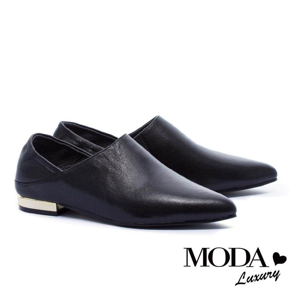 低跟鞋 MODA Luxury 極簡主義超柔軟後踩式全真皮尖頭低跟鞋-黑