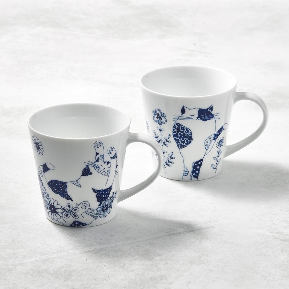 日本澤藍美濃燒 花園藍貓馬克杯-禮盒組(2件式)