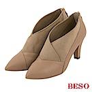 BESO 氣質焦點 V口顯瘦美型細跟踝靴~米