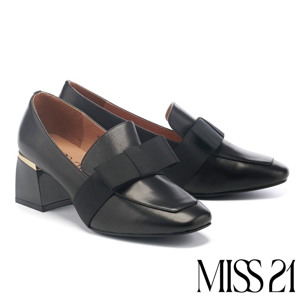 高跟鞋 MISS 21 復古時髦扁平蝴蝶結織帶真皮方頭粗高跟鞋-黑