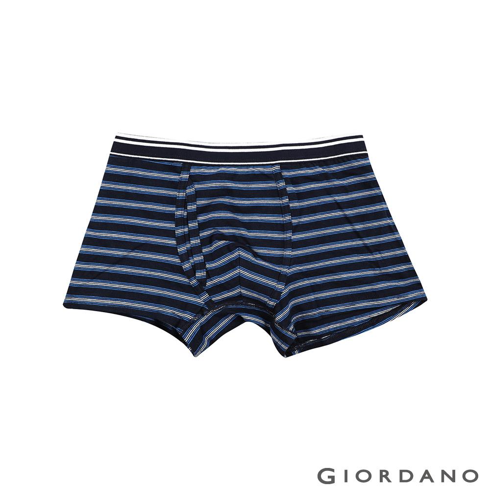 GIORDANO 男裝彈力貼身平底四角褲-45 標誌海軍藍/白藍條紋