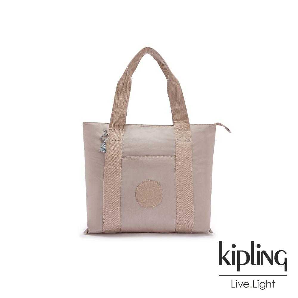Kipling 玫瑰拿鐵色大容量手提包-ERA M