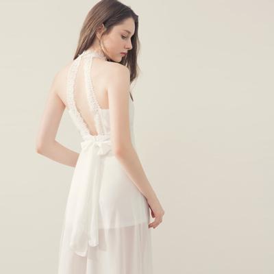 AIR SPACE 氣質小高領繞脖蕾絲雪紡長洋裝(白)