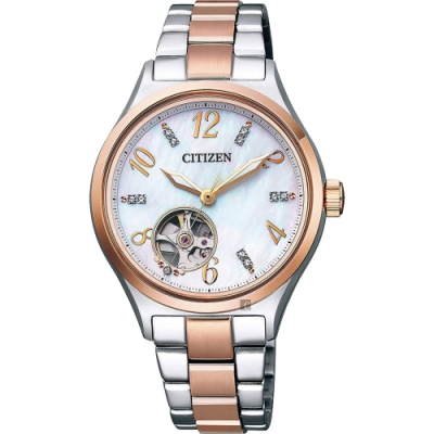 CITIZEN 星辰 Swarovski 鏤空晶鑽機械女錶-34mm PC1006-84D
