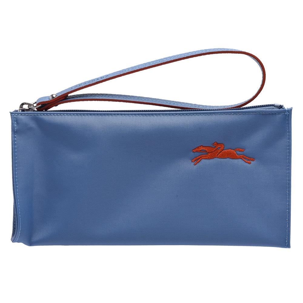 LONGCHAMP 經典Le Pliage系列奔馬刺繡圖騰掛腕萬用/化妝包(霧藍色)