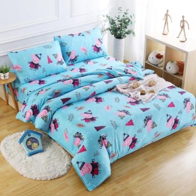 Peppa Pig  佩佩森林屋  親膚舒柔雙人床包枕套三件組