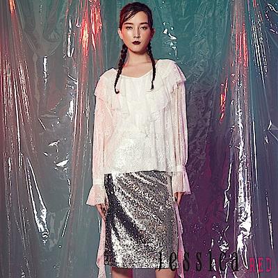 JESSICA RED - 時尚蕾絲層次設計感上衣(白)