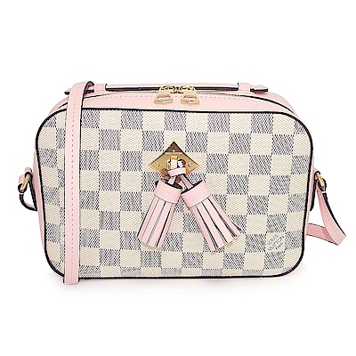 LV N40155 Saintonge 棋盤格皮革流蘇吊飾手提/斜背兩用方包(粉紅色)