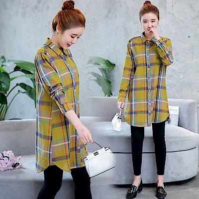 復古格紋寬鬆休閒襯衫-M~2XL(共二色)-Keer