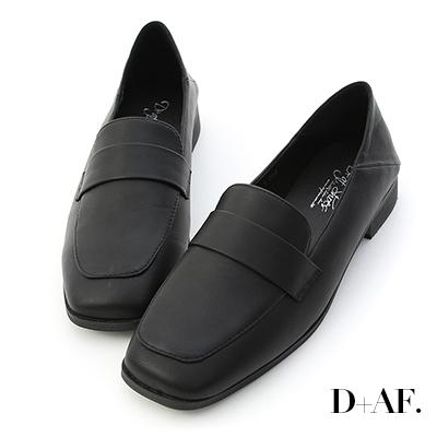 D+AF 俐落品味.可後踩方頭樂福鞋*黑