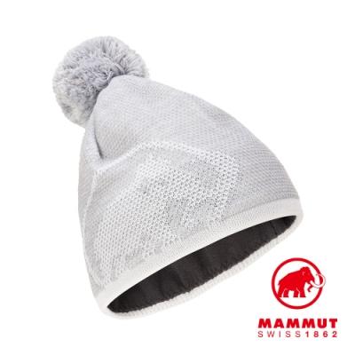 【Mammut 長毛象】Snow Beanie LOGO保暖針織毛球羊毛帽 公路灰/純白 #1191-00101