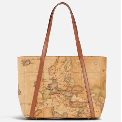 Alviero Martini 義大利地圖包 雙把長帶肩背包-地圖黃