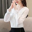 ALLK 蝴蝶結雪紡上衣 白色(尺寸M-XXL)