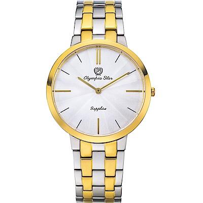 OlympiaStar 奧林比亞之星 時尚水波紋腕錶-雙色/40mm  58060MSK
