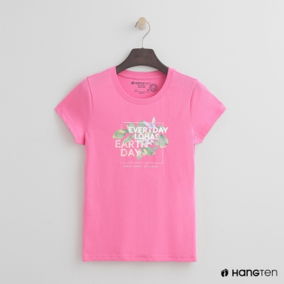 Hang Ten-女裝-有機棉-彩色圖印T恤-粉