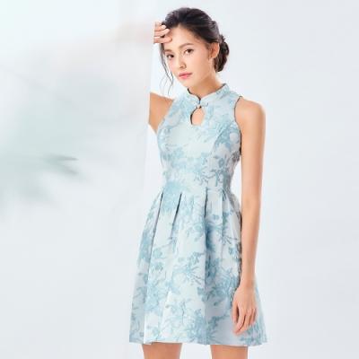 OMUSES 刺繡花A-Line裙襬旗袍洋裝