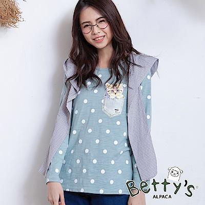 betty's貝蒂思 格紋帽+圓點貓咪印花T-shirt(淺綠)